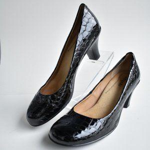 * Black Softspots Leather Pallas Croc Pumps Sz 9